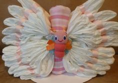 Beautiful BUTTERFLY Diaper Cake for Baby GIRL, Unique Shower Gift or Decoration. $29.95, via Etsy. #babyshower #diapercake