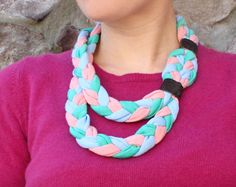 Rock Mosaic: diy braided jersey necklace with suede detail