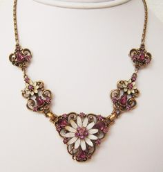 CORO Amethyst & Enamel Lavalier Necklace