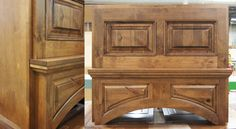A beautiful hood, in Rustic Alder. Mantel hoods are a fun outlet for kitchen designers; we see lots of cool designs!