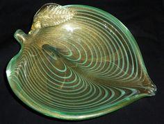Murano Green Fenicio Gold Flecks Art Glass Leaf Shaped Sculptural Bowl Dish | eBay