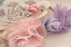 headband made with tulle and fabric flowers