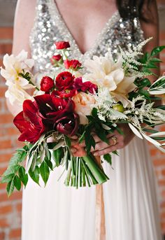 lush holiday bouquet // photo by Nicole Berrett, flowers by Bows & Arrows Flowers // http://ruffledblog.com/fuchsia-holiday-celebration