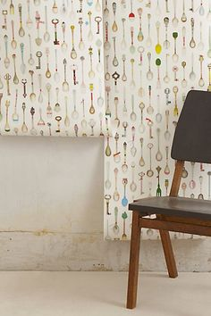 Teaspoons Wallpaper #anthropologie >>>love the color palette and the vintage meets eclectic feel.