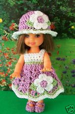 Crochet Kelly Doll clothes Lavender Flower Dress Hat Shoes Panties New
