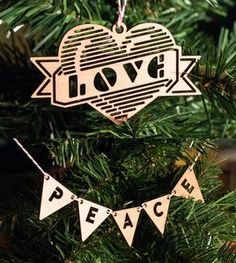 Peace & Love Wood Holiday Ornaments