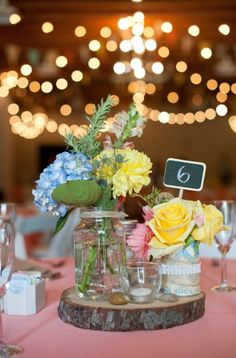 Eclectic pink, yellow, and blue centerpiece