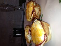 Egg bundles  Eggs Canadian bacon (turkey) Pillsbury thin pizza crust Sharp cheddar cheese Old El Paso pickled jalapeños Salt & pepper  Place 3 inch square of pizza crust in the bottom of a muffin tin followed by Canadian bacon, jalapeños, egg and cheese.  Repeat for as many as you want and cook at 350 for 20-25 mins.