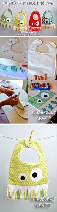 Monster Bib! Free Pattern and Tutorial! This would be a cute gift.
