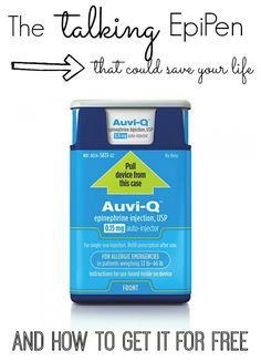 If you have kids with food allergies, you MUST check out this new epinephrine injector called AUVI-Q. It talks, is the size of an iPhone - and it can be FREE!
