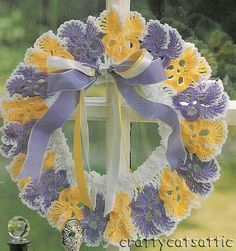 crochet wreath pattern, pansi wreath, crochet pansi, flower
