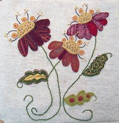 Wool applique. wool coneflow, wool applique, appliqué, pretti wool, appliques, jacobean flower, flowers, embroidery, embroideri