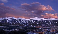 A panoramic picture of Breckenridge ski resort at dusk.