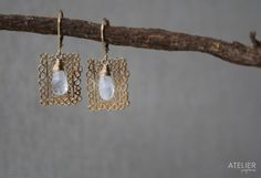 Freeform Rectangle & Moonstone Earrings by ATELIERGabyMarcos, $65.00