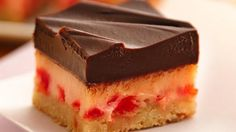 Simple chocolate-topped bars have a creamy filling and tender cookie crust.