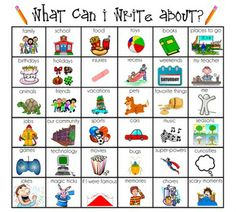 What Can I Write About? Board Of 36 Ideas!     Some of the ideas are: toys; books; places to go; birthdays; holidays; injuries; weekends; and much more!