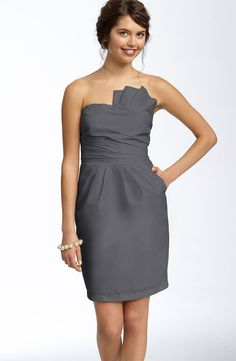 love this dress for a bridesmaid. either in a dark cranberry color or a plum purple :)