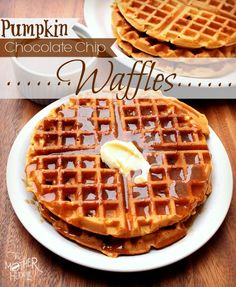 Pumpkin Chocolate Chip Waffles - the spiced syrup is delicious too!