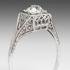 Antique Old Miner Diamond Filigree Engagement Ring 18K White Gold 1920's