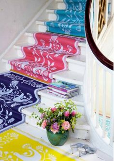 A colorfully rugged staircase #white