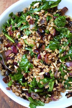 Alexandra Cooks.  Farro Salad with Roasted Onion, Toasted Pine Nuts, Currants and Greens