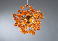 Hanging lamp, Orange lamp, orange bubbles. $360.00, via Etsy.