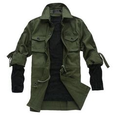 Fashion Men's Military Green frock Slim fit Jacket