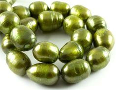14in Freshwater #Pearl Strand- 10-11mm Rice- Green #DIY #craft #jewelry