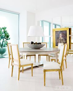 The Best Bright White Spaces// Louis XVI chairs, portraiture, drum shade