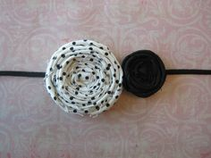 Double rolled fabric flower, large black polka dot, small solid black