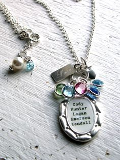 Excellent idea for a Mother's Day gift.  The names and birthstones of all of my Grandchildren. <3