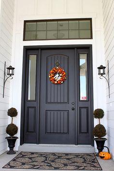 decor, dream, door colors, front doors, dark brown front door, hous, transom window, dark brown door, halloween