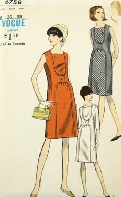 MOD 1960s UNIQUE DRESS PATTERN VOGUE 6758 SLIM CONTRAST INSET VERY UNUSUAL STYLE #60s #retro #vintage