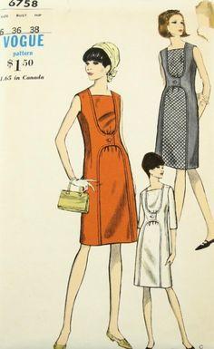 MOD 1960s UNIQUE DRESS PATTERN VOGUE 6758 SLIM CONTRAST INSET VERY UNUSUAL STYLE #60s #retro #vintage