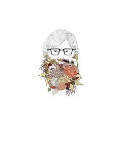 Beard flowers 8x10 print by ChipmunkCheeks on Etsy, $20.00