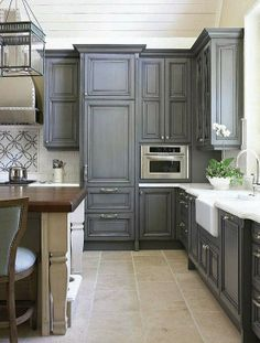 Love these blue-gray cabinets!