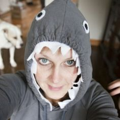 Turn an old hoodie into an instant shark costume using hot glue and felt this halloween.