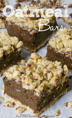 Chocolate Oatmeal Bars | OMGChocolateDesserts.com | #chocolate #oatmeal #bars