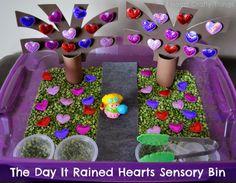 "Sensory Bin to go along with ""The Day It Rained Hearts"" by Felicia Bond via I Heart Crafty Things."