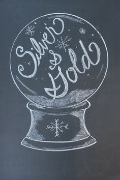 Silver and Gold chalkboard design- Perfect for a winter holiday or New Years!