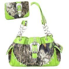 Western Green Camouflage Buckle Rhinestone Purse W Matching Wallet In Stock: 62.99