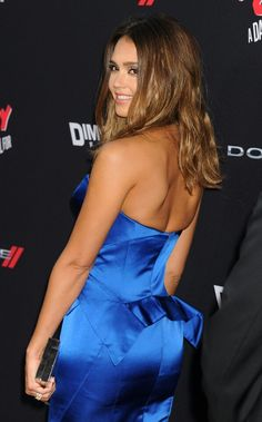 Jessica Alba booty in a blue silk strapless dress on Sin City red carpet