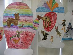 The Mitten- After reading two versions, students became illustrators to show which animals they wanted to be in their mitten.
