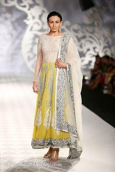 Varun Bahl designer anarkali suit. White and yellow designer anarkali dress suit with silver embroidery on trim and dupatta chuni. #yellowanarkali #whiteanarkali #designeranarkali #anarkali