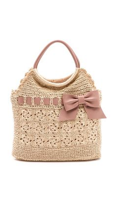 ::RED Valentino Crochet Raffia Top Handle Bag::
