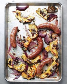Sausages with Acorn Squash and Onions Recipe