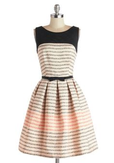 Promoting Elegance Dress in Bubbles - Black, Stripes, Bows, Pleats, A-line, Sleeveless, Better, Scoop, Sheer, Knit, Woven, Mid-length, Pink,...