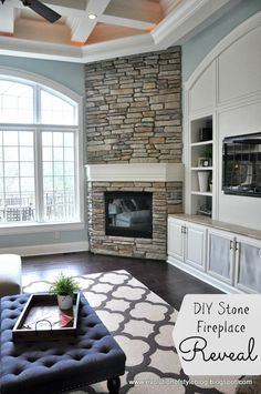 DIY Stone Fireplace Reveal (for real!) - Evolution of Style - love these colors