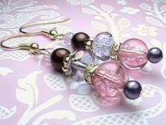 Purples Pinks and Silver Glass Beaded Earrings by We3Queens, $8.00