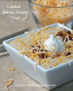 Loaded Baked Potato Soup - Chocolate Chocolate and More!. ☀CQ #soup #stews http://www.pinterest.com/CoronaQueen/soups-stews-and-chili/